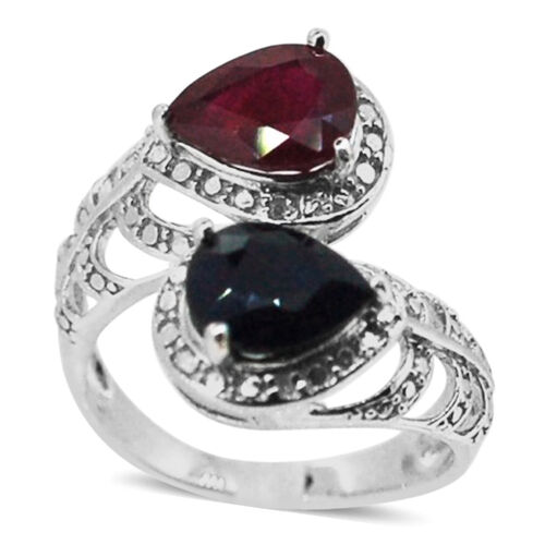 African Ruby (Pear 2.00 Ct), Kanchanaburi Blue Sapphire and Diamond Ring in Rhodium Plated Sterling Silver 4.020 Ct.