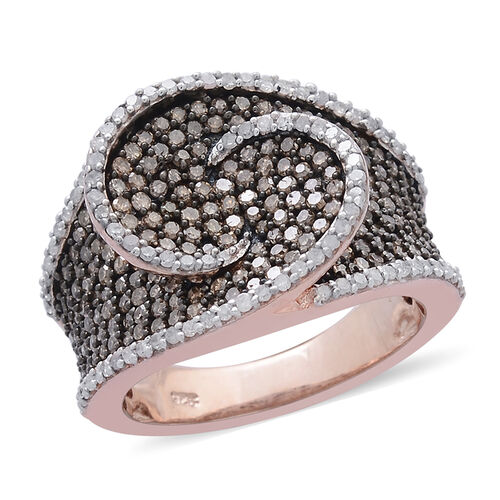 Designer Inspired Limited Edition Natural Champagne Diamond (Rnd), White Diamond Ring in Black Rhodium and Rose Gold Overlay Sterling Silver 1.500 Ct.
