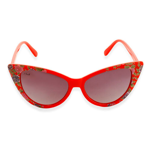 Shiny Red Frame Cats Eye Sunglasses With UV Protection Lenses