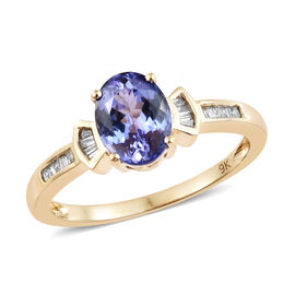 9K Yellow Gold AA Tanzanite (Ovl 1.85 Ct), Diamond Ring 2.000 Ct.