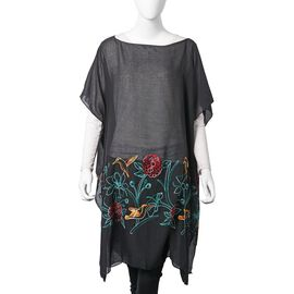 Black, Red, Yellow and Green Embroidered Flower and Bird Pattern Poncho (Size 90x90 Cm)