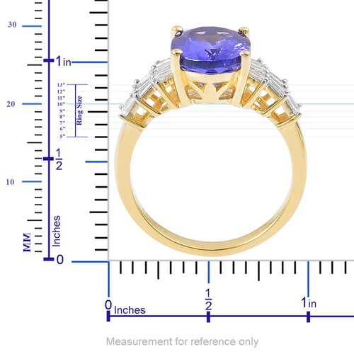 ILIANA 18K Yellow Gold AAA Tanzanite (Ovl 4.00 Ct), Diamond (SI/G-H) Ring 4.500 Ct.