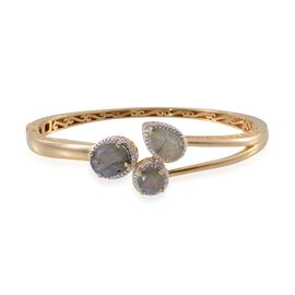 Labradorite (Ovl 4.50 Ct), Diamond Bangle (Size 7.5) in 14K Gold Overlay Sterling Silver 8.500 Ct.