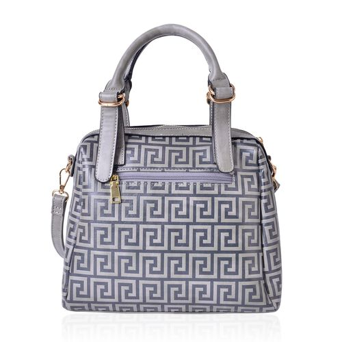 Greek Key Pattern Classic Grey Top Handle Bag with External Zipper Pocket and Adjustable and Removable Shoulder Strap (Size 28X26X10.5 Cm)