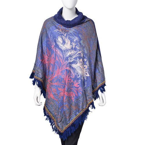 Close Out Deal- Designer Inspired-Blue, Red and Multi Colour Floral Pattern Turtle Neck Poncho with Tassels (Free Size)