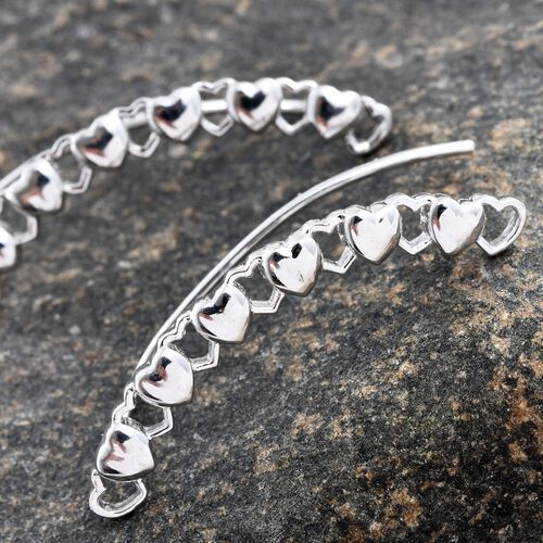 Silver Mini Heart Climber Earrings in Platinum Overlay, Silver wt 4.50 Gms.