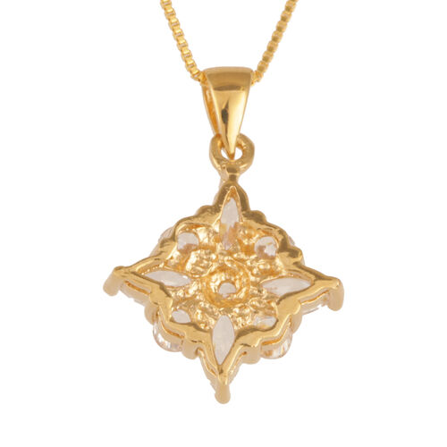 Close Out Deal AAA Simulated Diamond (Mrq) Pendant with Chain in 14K Gold Overlay Sterling Silver