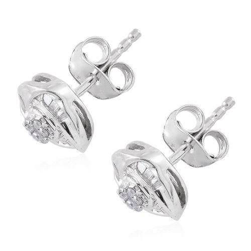 Diamond (Rnd) Knot Stud Earrings (with Push Back) in Platinum Overlay Sterling Silver 0.150 Ct.