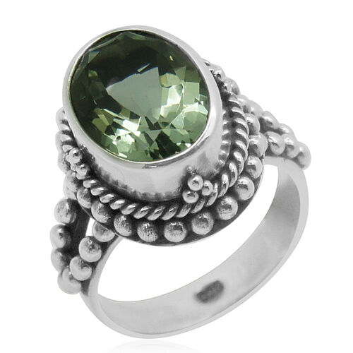 Royal Bali Collection Green Amethyst (Ovl) Solitaire Ring in Sterling Silver 5.500 Ct.