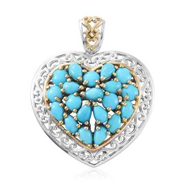 Arizona Sleeping Beauty Turquoise (Pear) Heart Pendant in Platinum and Yellow Gold Overlay Sterling Silver 3.750 Ct.
