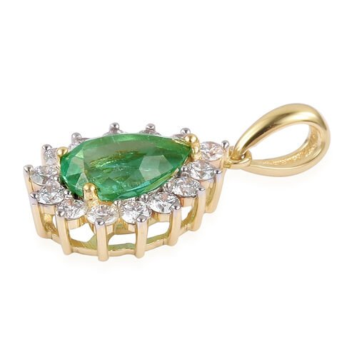ILIANA 2.07 Ct AAA Boyaca Colombian Emerald and Diamond (SI/G-H) Halo Pendant in 18K Gold