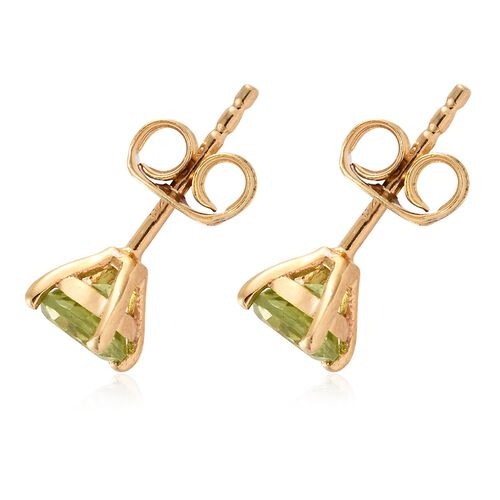 Hebei Peridot (Rnd) Stud Earrings (with Push Back) in 14K Gold Overlay Sterling Silver 1.000 Ct.