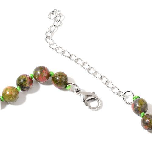 Unakite Heart Necklace (Size 20) in Silver Tone 288.000 Ct.