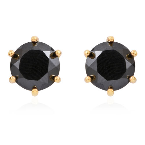 Boi Ploi Black Spinel (Rnd) Stud Earrings (with Push Back) in 14K Gold Overlay Sterling Silver 4.000 Ct.