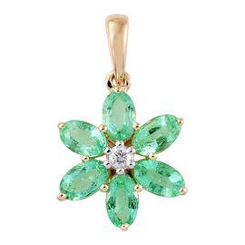 9K Y Gold AAA Boyaca Colombian Emerald (Ovl), Natural Cambodian Zircon Floral Pendant 1.500 Ct.