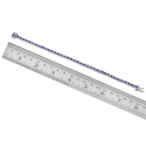 Tanzanite (Ovl), Diamond Tennis Bracelet (Size 8) in Platinum Overlay Sterling Silver 9.005 Ct.