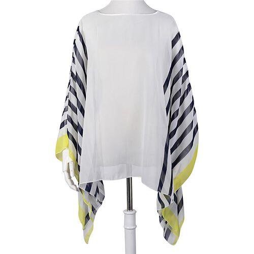 Navy Blue and Yellow Colour Stripe Pattern White Colour Poncho (Size 135x55 Cm)