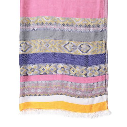 Pink, Yellow and Multi Colour Stripes Pattern Scarf with Fringes (Size 180X67 Cm)