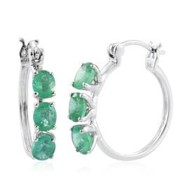 9K White Gold 2 Carat AA Boyaca Colombian Emerald Hoop Earrings (with Clasp)