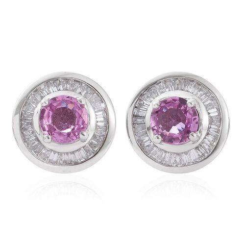 RHAPSODY 950 Platinum AAAA Pink Sapphire (Rnd), Diamond (VS/E-F) Stud Earrings (with Screw Back) 1.500 Ct.
