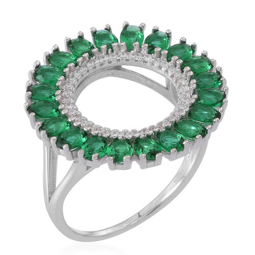 ELANZA AAA Simulated Green Tourmaline (Ovl), Simulated Diamond Ring in Rhodium Plated Sterling Silver