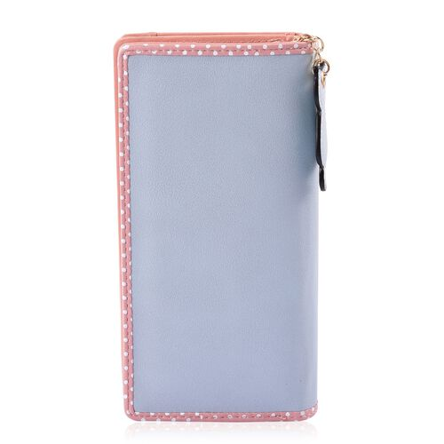 Pink and Blue Colour Cat Design Ladies Wallet with Cat Charm (Size 19X9X3 Cm)
