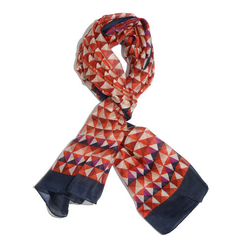 100% Mulberry Silk Pink, Orange and Cream Colour Geometrical Pattern Black Colour Scarf (Size 175x100 Cm)
