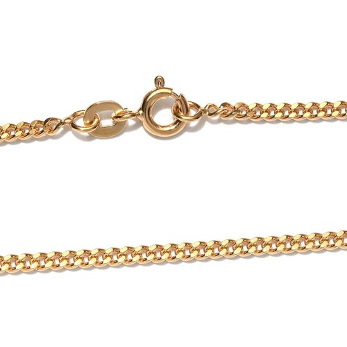 JCK Vegas 2017 - Italian Made Yellow Gold Overlay Sterling Silver Curb Necklace (Size 20), Silver wt 6.00 Gms.