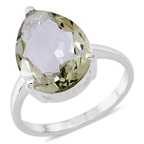Green Amethyst (Pear) Solitaire Ring in Sterling Silver 8.000 Ct.