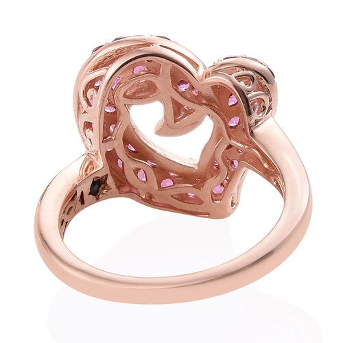 GP Rhodolite Garnet (Rnd), Kanchanaburi Blue Sapphire Heart Ring in Rose Gold Overlay Sterling Silver 2.000 Ct.