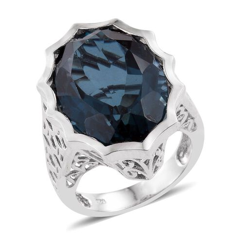 Indicolite Quartz (Ovl) Ring in Platinum Overlay Sterling Silver 18.750 Ct.