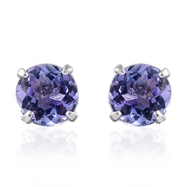 9K W Gold AA Tanzanite (Rnd) Stud Earrings (with Push Back) 1.000 Ct.