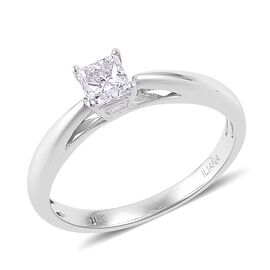 ILIANA 18K White Gold 0.50 Carat Diamond Princess Cut Solitaire Ring IGI Certified (SI/G-H)