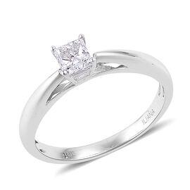 ILIANA 0.50 Carat Diamond Princess Cut Solitaire Ring IGI Certified (SI/G-H) in 18K White Gold