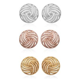 One Time Mega Deal-Set of 3 - Rhodium, 14K Yellow and Rose Gold Overlay Sterling Silver Swirl Stud Earrings