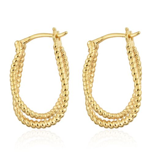 Designer Inspired-14K Gold Overlay Sterling Silver 3 Dimensional Hoop Earrings (with Clasp), Silver wt 4.87 Gms.