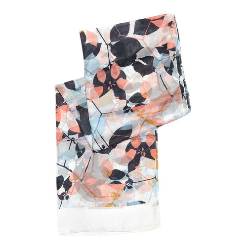 100% Mulberry Silk White, Pink and Multi Colour Hand Screen Leaves Printed Scarf (Size 180X50 Cm)