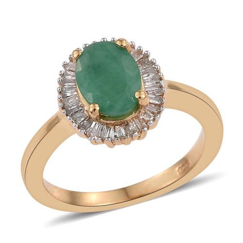 Kagem Zambian Emerald (1.00 Ct) and Diamond 14K Gold Overlay Sterling Silver Ring  1.250  Ct.
