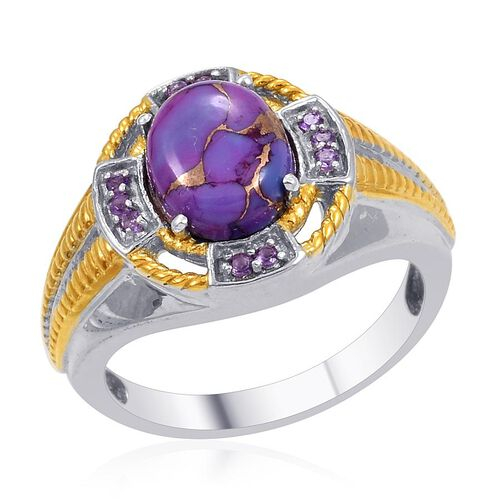 Designer Collection Mojave Purple Turquoise (Ovl 2.50 Ct), Amethyst Ring in 14K YG and Platinum Overlay Sterling Silver 2.830 Ct.