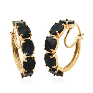 Spectrolite (Ovl) Hoop Earrings (with Clasp) in 14K Gold Overlay Sterling Silver 9.750 Ct. Silver wt 7.31 Gms.