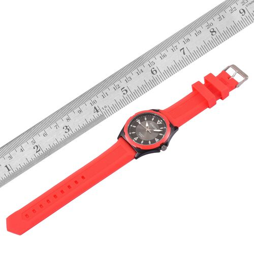 STRADA Japanese Movement Sunshine Pattern Black Dial Water Resistant Watch in Black Tone with Stainless Steel Back and Red Colour Silicone Strap