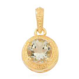 Rio Grande Green Amethyst (Rnd) Solitaire Pendant in 14K Gold Overlay Sterling Silver 2.750 Ct.