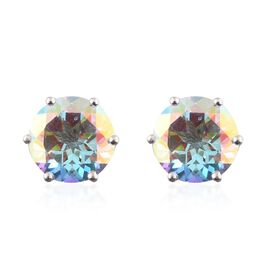 Mercury Mystic Topaz (Rnd) Stud Earrings (with Push Back) in Platinum Overlay Sterling Silver 4.500 Ct. Silver wt. 3.88 Gms.