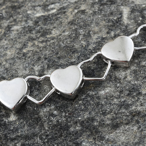 Thai Sterling Silver Rhodium Plated Heart Bracelet (Size 7.5), Silver wt. 6.50 Gms.