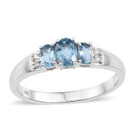9K White Gold AA Santa Maria Aquamarine (Ovl), Diamond Ring 1.000 Ct.