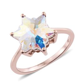 J Francis Crystal from Swarovski - AB Colour Crystal (Stellaris Cut) Ring in Rose Gold Overlay Sterling Silver