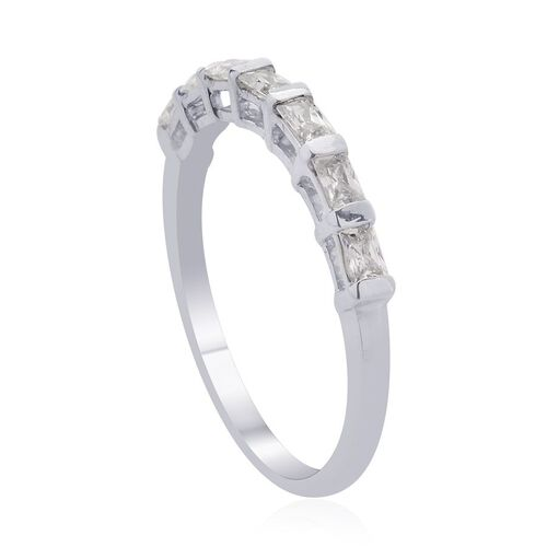 J Francis - Platinum Overlay Sterling Silver (Bgt) 7 Stone Ring Made with SWAROVSKI ZIRCONIA