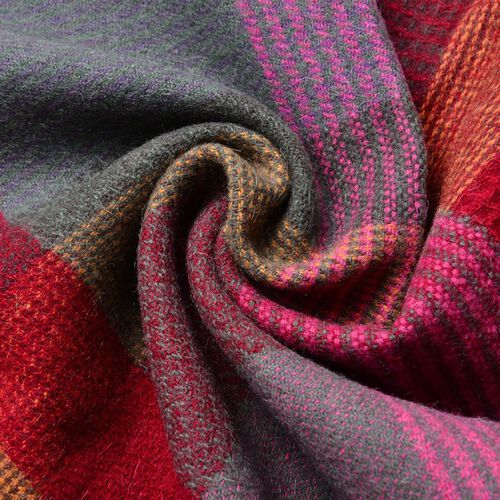 100% Wool Red, Purple and Multi Colour Checks Pattern Scarf with Tassels (Size 160x30 Cm)