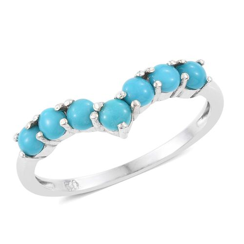 Arizona Sleeping Beauty Turquoise (Rnd) 7 Stone Wishbone Ring in Platinum Overlay Sterling Silver 1.000 Ct.