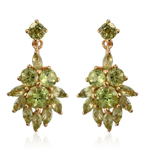 AA Hebei Peridot (Rnd) Earrings (with Push Back) in 14K Gold Overlay Sterling Silver 4.000 Ct.